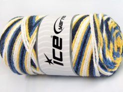 Lot of 2 x 200gr Skeins Ice Yarns SAVER CHAIN COLOR Yarn Navy Blue Yellow White
