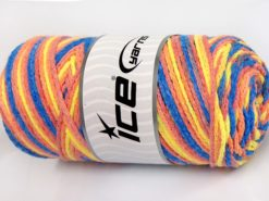Lot of 2 x 200gr Skeins Ice Yarns SAVER CHAIN COLOR Yarn Blue Yellow Light Salmon