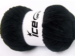 Lot of 4 x 100gr Skeins Ice Yarns CHENILLE BABY LIGHT (100% MicroFiber) Yarn Black