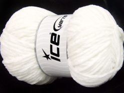 Lot of 4 x 100gr Skeins Ice Yarns CHENILLE BABY LIGHT (100% MicroFiber) Yarn White