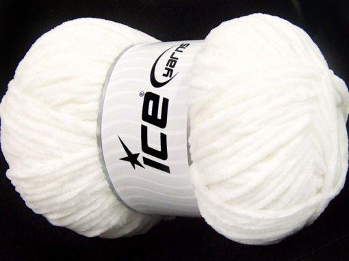 Lot of 4 x 100gr Skeins Ice Yarns CHENILLE BABY LIGHT (100% MicroFiber) Yarn White