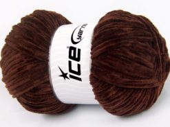 Lot of 4 x 100gr Skeins Ice Yarns CHENILLE BABY LIGHT (100% MicroFiber) Yarn Brown