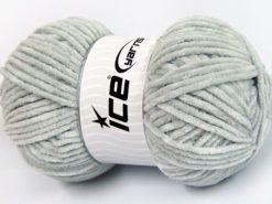 Lot of 4 x 100gr Skeins Ice Yarns CHENILLE BABY LIGHT (100% MicroFiber) Yarn Light Grey