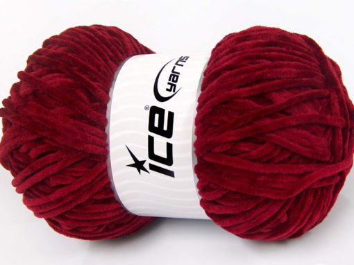 Lot of 4 x 100gr Skeins Ice Yarns CHENILLE BABY LIGHT (100% MicroFiber) Yarn Burgundy