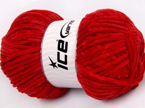 Lot of 4 x 100gr Skeins Ice Yarns CHENILLE BABY LIGHT (100% MicroFiber) Yarn Dark Red