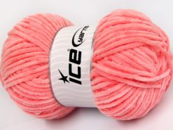 Lot of 4 x 100gr Skeins Ice Yarns CHENILLE BABY LIGHT (100% MicroFiber) Yarn Salmon