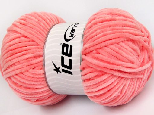 Lot of 4 x 100gr Skeins Ice Yarns CHENILLE BABY LIGHT (100% MicroFiber) Yarn Salmon