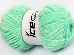 Lot of 4 x 100gr Skeins Ice Yarns CHENILLE BABY LIGHT (100% MicroFiber) Yarn Light Green