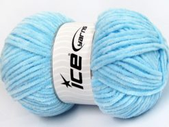 Lot of 4 x 100gr Skeins Ice Yarns CHENILLE BABY LIGHT (100% MicroFiber) Yarn Light Blue