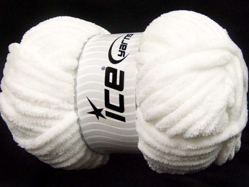 Lot of 2 x 200gr Skeins Ice Yarns CHENILLE SUPERBULKY (100% MicroFiber) Yarn White