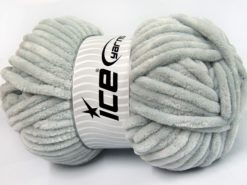 Lot of 2 x 200gr Skeins Ice Yarns CHENILLE SUPERBULKY (100% MicroFiber) Yarn Light Grey