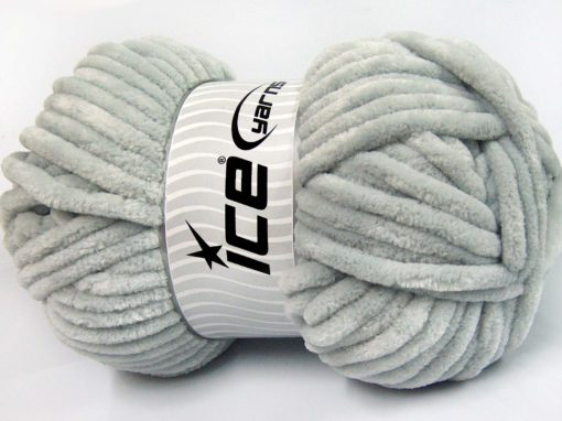 Lot of 2 x 200gr Skeins Ice Yarns CHENILLE SUPERBULKY (100% MicroFiber) Yarn Light Grey