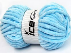 Lot of 2 x 200gr Skeins Ice Yarns CHENILLE SUPERBULKY (100% MicroFiber) Yarn Baby Blue