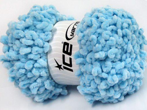 Lot of 4 x 100gr Skeins Ice Yarns CHENILLE LOOP (100% MicroFiber) Yarn Baby Blue