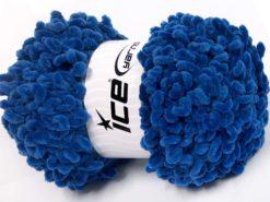 Lot of 4 x 100gr Skeins Ice Yarns CHENILLE LOOP (100% MicroFiber) Yarn Dark Blue