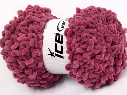 Lot of 4 x 100gr Skeins Ice Yarns CHENILLE LOOP (100% MicroFiber) Yarn Light Maroon