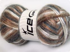 Lot of 4 x 100gr Skeins Ice Yarns UNIVERSE (19% Wool) Yarn Grey Shades Camel Brown Black