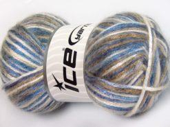 Lot of 4 x 100gr Skeins Ice Yarns UNIVERSE (19% Wool) Yarn Blue Shades Camel Black