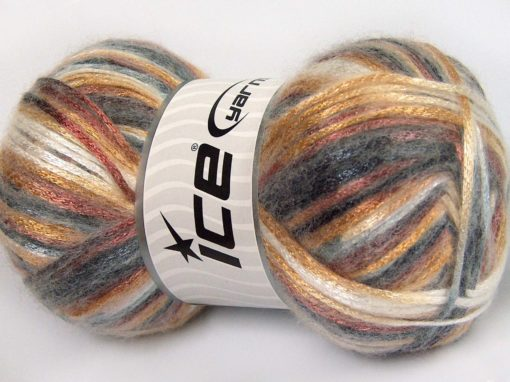 Lot of 4 x 100gr Skeins Ice Yarns UNIVERSE (19% Wool) Yarn Grey Shades Gold Brown White