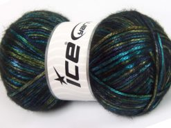 Lot of 4 x 100gr Skeins Ice Yarns UNIVERSE (19% Wool) Yarn Navy Turquoise Green