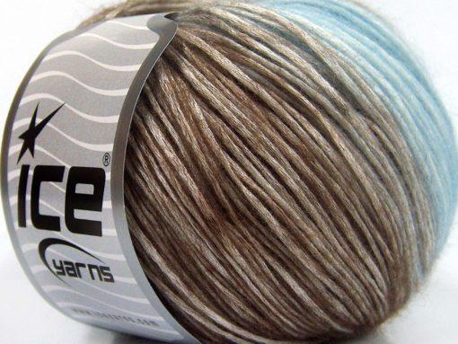 Lot of 6 Skeins Ice Yarns ROMA (26% Wool 74% Modal) Yarn Brown Baby Blue