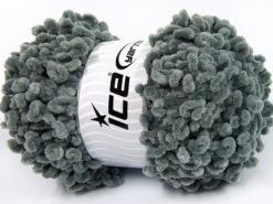 Lot of 4 x 100gr Skeins Ice Yarns CHENILLE LOOP (100% MicroFiber) Yarn Light Grey