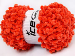 Lot of 4 x 100gr Skeins Ice Yarns CHENILLE LOOP (100% MicroFiber) Yarn Orange