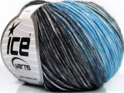 Lot of 6 Skeins Ice Yarns ROMA (26% Wool 74% Modal) Yarn Blue Black