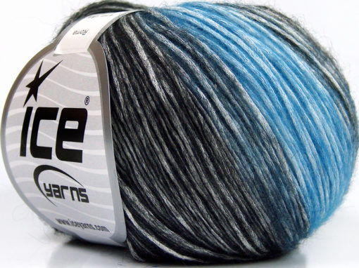 Lot of 6 Skeins Ice Yarns ROMA (26% Wool 74% Modal) Yarn Blue Black