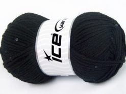 Lot of 4 x 100gr Skeins Ice Yarns CHAIN PAILLETTE (2% Paillette) Yarn Black