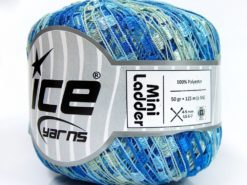 Lot of 6 Skeins Ice Yarns Trellis MINI LADDER Hand Knitting Yarn Blue Shades