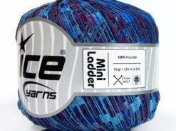 Lot of 6 Skeins Ice Yarns Trellis MINI LADDER Yarn Blue Shades Purple