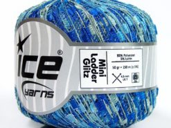 Lot of 6 Skeins Ice Yarns Trellis MINI LADDER GLITZ Yarn Blue Shades