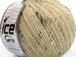 Lot of 8 Skeins Ice Yarns POP WOOL TWEED (50% Wool 10% Viscose) Yarn Dark Cream