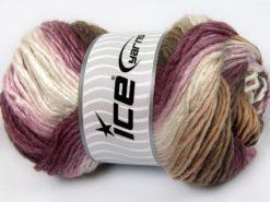 Lot of 4 x 100gr Skeins Ice Yarns AMBIENTE (50% Wool) Yarn Maroon Shades White Camel