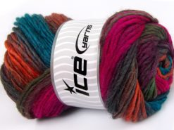 Lot of 4 x 100gr Skeins Ice Yarns AMBIENTE (50% Wool) Yarn Turquoise Copper Fuchsia