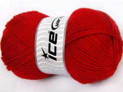 Lot of 4 x 100gr Skeins Ice Yarns FAVOURITE WOOL (50% Wool) Yarn Red
