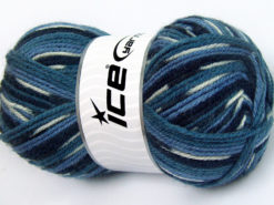Lot of 4 x 100gr Skeins Ice Yarns JACQUARD (50% Wool) Yarn Blue Shades White