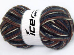 Lot of 4 x 100gr Skeins Ice Yarns JACQUARD (50% Wool) Yarn Brown Shades Black Grey White