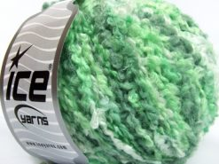 Lot of 8 Skeins Ice Yarns BOUCLE WOOL BULKY (35% Wool) Yarn Green Shades