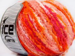 Lot of 8 Skeins Ice Yarns BOUCLE WOOL BULKY (35% Wool) Yarn Orange Shades Fuchsia White