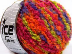 Lot of 8 Skeins Ice Yarns BOUCLE WOOL BULKY (35% Wool) Yarn Fuchsia Orange Green Purple