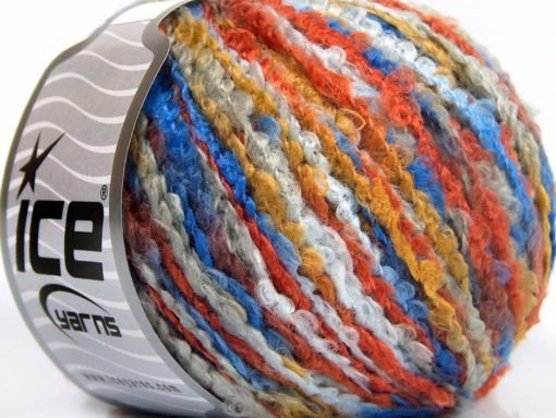 Lot of 8 Skeins Ice Yarns BOUCLE WOOL BULKY (35% Wool) Yarn Blue Shades Gold Copper