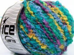 Lot of 8 Skeins Ice Yarns BOUCLE WOOL BULKY (35% Wool) Yarn Green Shades Purple Light Blue
