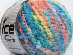 Lot of 8 Skeins Ice Yarns BOUCLE WOOL BULKY (35% Wool) Yarn Blue Shades Salmon Light Yellow