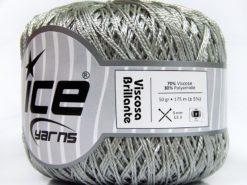Lot of 6 Skeins Ice Yarns VISCOSA BRILLANTE (70% Viscose) Yarn Silver