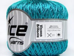 Lot of 6 Skeins Ice Yarns VISCOSA BRILLANTE (70% Viscose) Yarn Turquoise