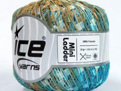 Lot of 6 Skeins Ice Yarns Trellis MINI LADDER Yarn Blue Light Brown