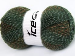 Lot of 4 x 100gr Skeins Ice Yarns PUZZLE WOOL (50% Wool) Yarn Green shades Brown Shades
