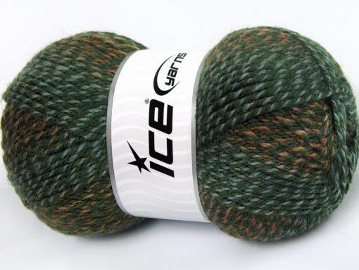 Lot of 4 x 100gr Skeins Ice Yarns PUZZLE WOOL (50% Wool) Yarn Green shades Brown Shades